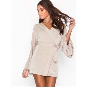 Missguided Slinky Plunge Neck Dress in Silver